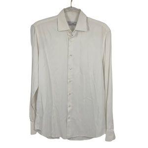 Carolina Herrera Men's Button-Down White Dress Shirt 15 1/2 Neck Size